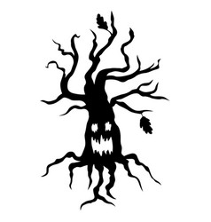 halloween scary tree vector image