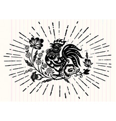 Hand drawn zodiac sign for year rooster vector