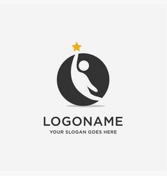 handy man reaching star logo icon template vector image
