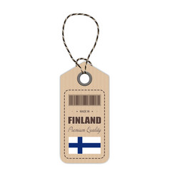 Hang tag made in finland with flag icon isolated vector