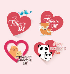 happy fathers day card with animals family vector image