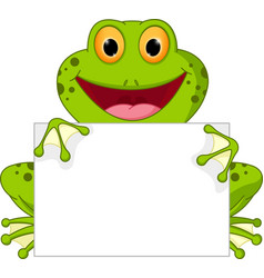 Happy frog cartoon with sign vector