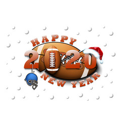 happy new year 2020 and football ball vector image