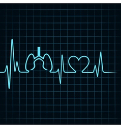 Heartbeat make lungs and heart symbol vector image