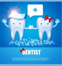 helthy teeth with toothpaste bubbles red bow and vector image
