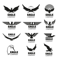 Heraldic symbols with eagle silhouettes vector