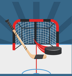 Hockey sticks with puck and goal in the rink vector