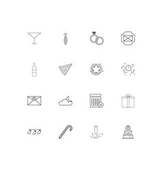 holidays simple linear icons set outlined icons vector image