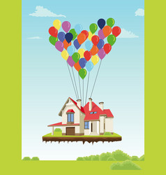 house with multicolored balloons vector image