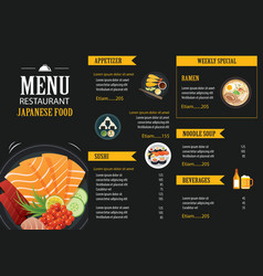 Japanese food menu restaurant brochure vector