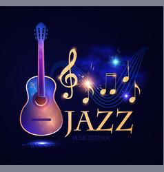 Jazz concert music design element with guitar vector