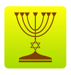 jewish menorah candlestick in black silhouette vector image