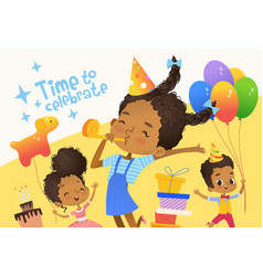 joyous in birthday hats vector image