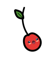 Kawaii cherry fruit icon vector