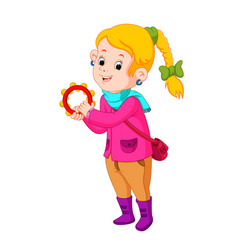 kids dancing with musical instruments tambourine vector image