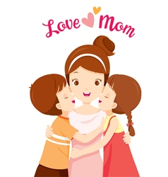 Kids Hugging Mother And Kissing On Her Cheeks vector