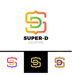 letter s and d monogram square shape logo vector image