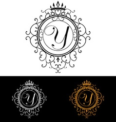 letter y luxury logo template flourishes vector image