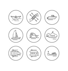linear flat icons water transport vector image