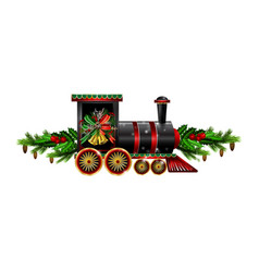 Little christmas train with wagons decorated red vector