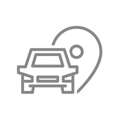 location pin with car line icon parking symbol vector image