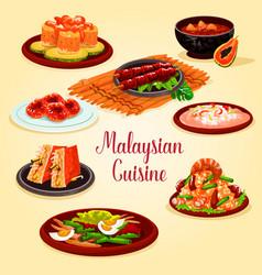 Malaysian cuisine cartoon poster for menu design vector