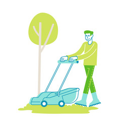 man character mow lawn in garden or public city vector image