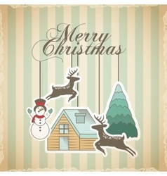 merry christmas decoration card vector image