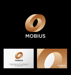 Mobius logo impossible gold shape web icon vector