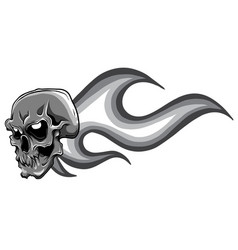 monochromatic skull on fire with flames vector image