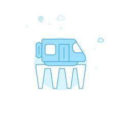 Monorail road train flat icon light blue vector