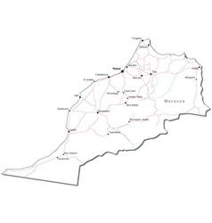 Morocco Black White Map vector