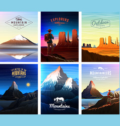 mountains peaks card or brochure tourism on vector image