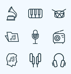 Music outlines set collection of wireless barrel vector