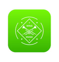 musical trumpet icon green vector image