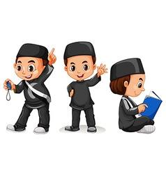 Muslim boy in black costume vector image