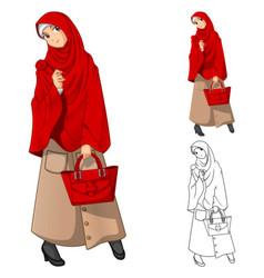 Muslim Woman Fashion Cartoon Character vector