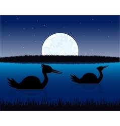 Night landscape with water and bird vector