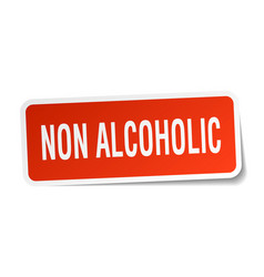 Non alcoholic square sticker on white vector