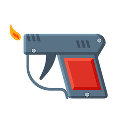 Pistol shape cigarette lighter with fire vector