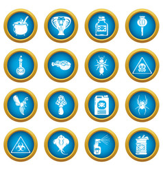 poison danger toxic icons set simple style vector image