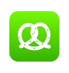 Pretzel icon digital green vector