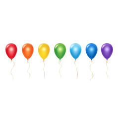 realistic rainbow balloons set balloons vector image