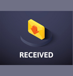 Recived isometric icon isolated on color vector