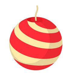 red and white striped round candle icon vector image