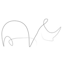 Rhinoceros one line vector