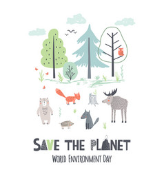 save planet hand draw earth day poster vector image