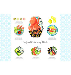 Seafood cuisine of world crab shrimp octopus vector