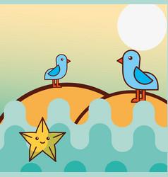 seagull birds starfish sea life cartoon vector image