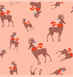 seamless childish pattern with cute deer in the vector image